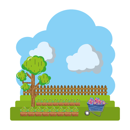 cultivated with tree and wood grillage farm vector illustration