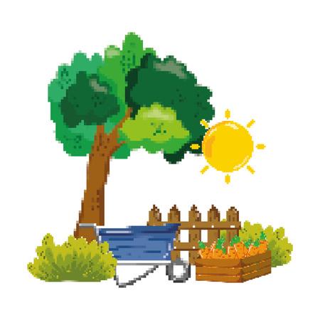 pixelated wheelbarrow and cultivation carrots farm vector illustration Illustration