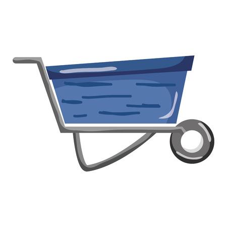 industrial wheelbarrow transport equipment service vector illustration Illustration