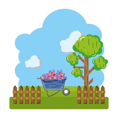flowers inside wheelbarrow with trees and grillage farm vector illustration