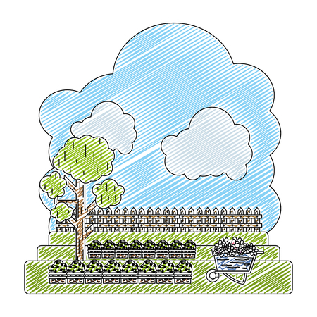 doodle cultivated with tree and wood grillage farm vector illustration