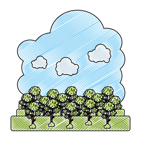 doodle fluffy clouds and nature trees landscape vector illustration Vectores