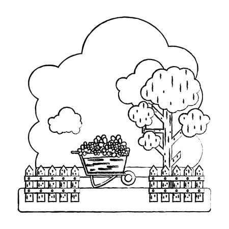 grunge flowers inside wheelbarrow with trees and grillage farm vector illustration