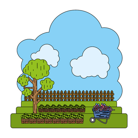 color cultivated with tree and wood grillage farm vector illustration