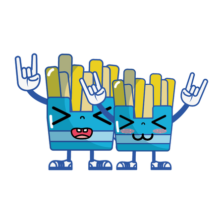 kawaii funny friends fries french vector illustration