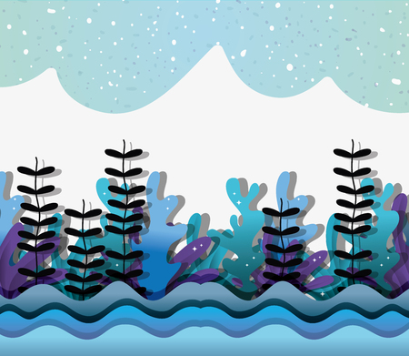 Paper art undersea scenery with fishes and seaweed vector illustration graphic design Illustration