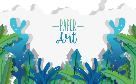 Paper art undersea cute background with seaweed vector illustration graphic design
