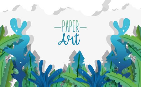 Papier art fond mignon sous-marin avec conception graphique d'illustration vectorielle d'algues