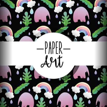 Paper art background with elephant and rainbows vector illustration graphic design vector illustration graphic design Illustration