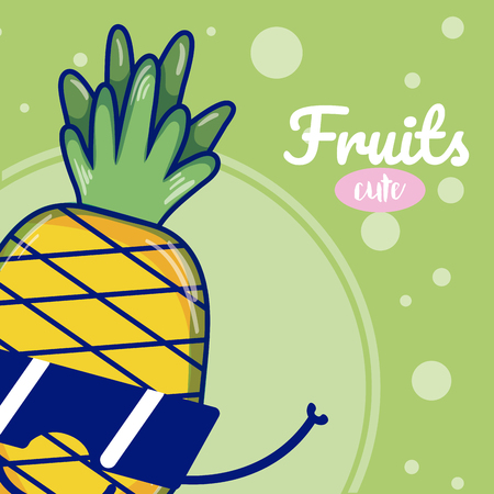 Pineapple with sunglasses cute kawaii fruit cartoons vector illustration graphic design Vectores