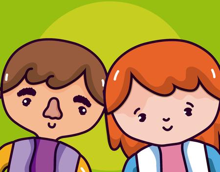 Ethnic couple cartoons