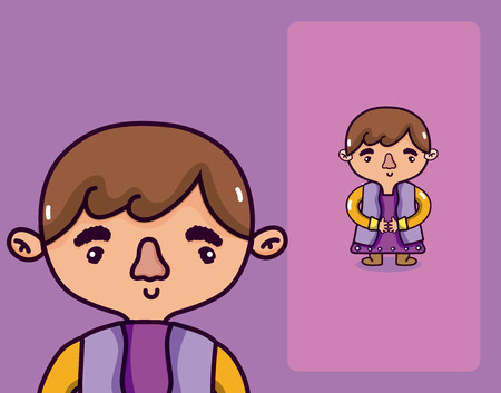 Man with ethnic clothes cartoon