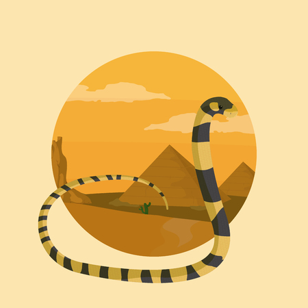 Snake desert animal cartoon inside landscape round icon vector illustration graphic design Фото со стока - 111719619