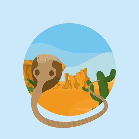 Snake desert animal cartoon inside landscape round icon vector illustration graphic design