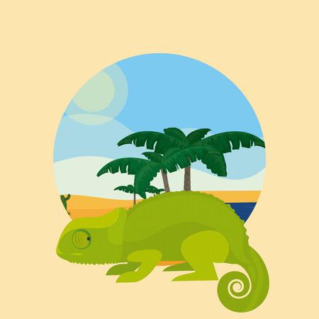 Chameleon Desert animal cartoon inside landscape round icon vector illustration graphic design