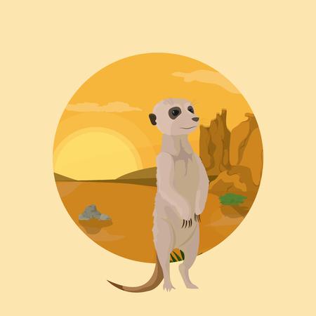 Dibujos animados de animales del desierto de suricata dentro del diseño gráfico del ejemplo del vector del icono redondo del paisaje