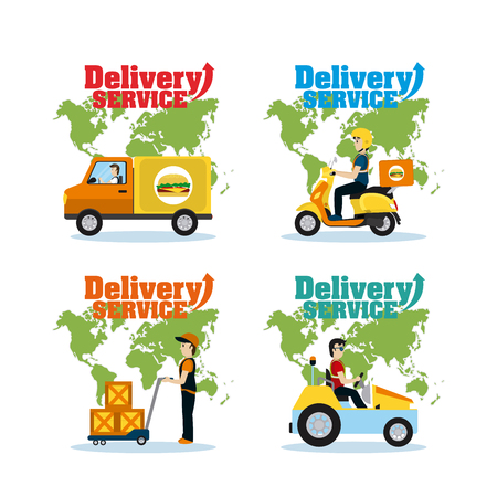 Set of delivery service cards