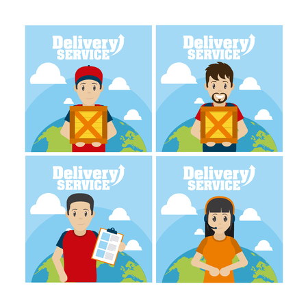 Delivery service cards cartoons collection vector illustration graphic design