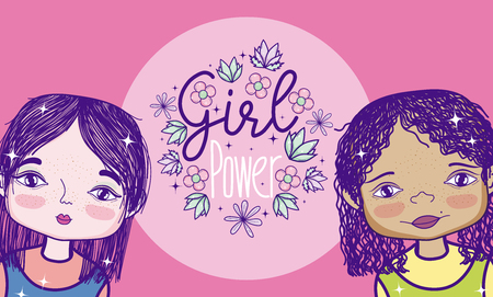 Girls power feminism cartoon vector illustration graphic design Illustration