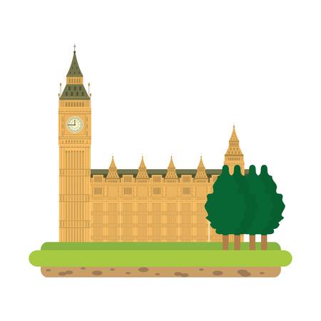 london clock tower with trees landscape Illusztráció