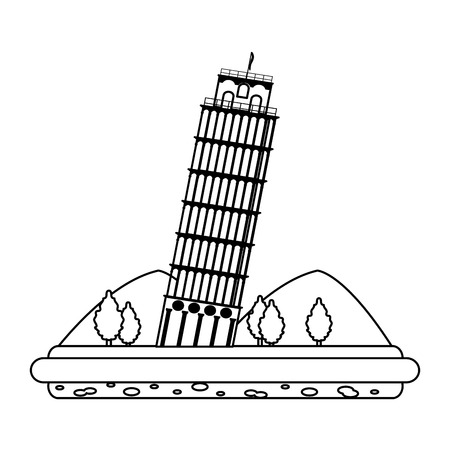 line leaning tower of pisa with mountains and trees