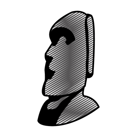 doodle moai sculpture from easter island culture