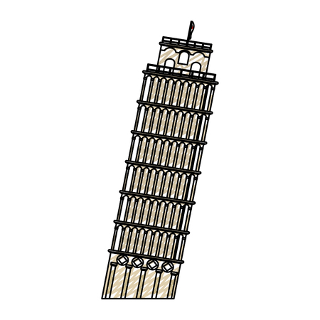 doodle leaning tower of pisa building history Illustration