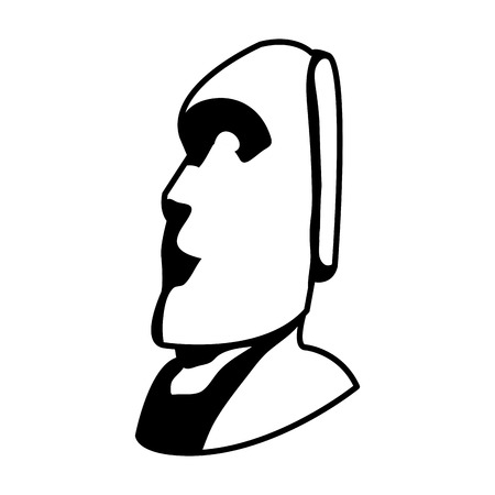 line moai sculpture from easter island culture Illustration