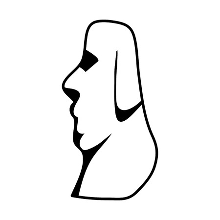 line moai classic sculpture from easter island Illustration