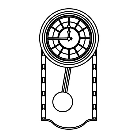 line cirrus oak wall clock design vector illustration