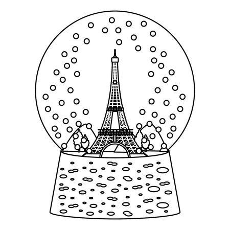line eiffel tower inside snow ball glass vector illustration