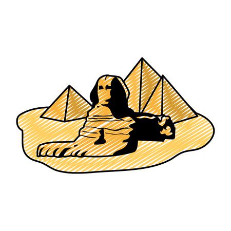 doodle famous giza egypt sculpture pyramids vector illustration Çizim