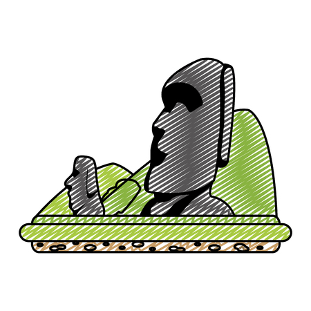 doodle moai sculture from easter island and mountains Illustration