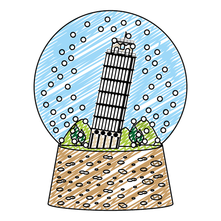 doodle leaning tower of pisa inside snow glass vector illustration