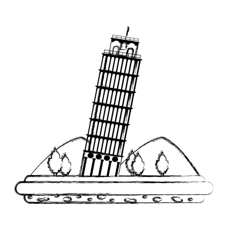 grunge leaning tower of pisa with mountains and trees Illustration