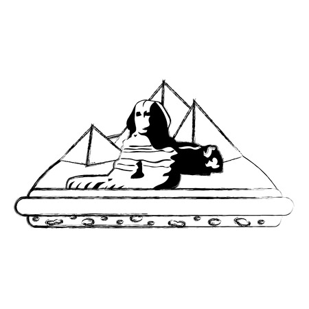 grunge giza egypt sculpture architecture pyramids vector illustration