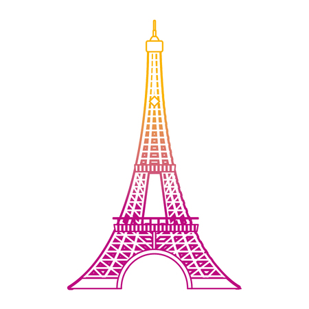 degraded line eiffel tower architecture from paris france vector illustration Illustration