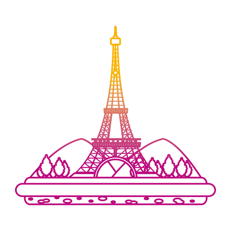 degraded line eiffel tower with mountainsand trees landscape vector illustration Illustration