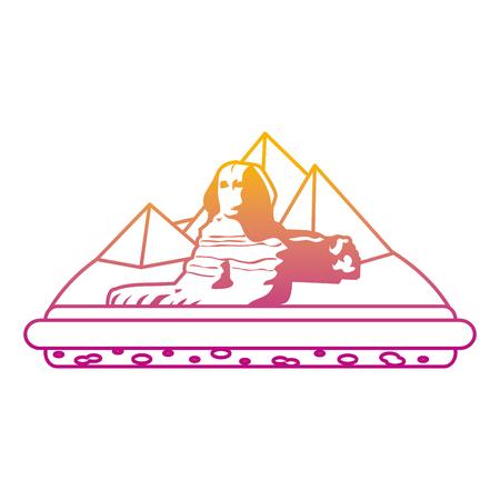 degraded line giza egypt sculpture architecture pyramids vector illustration