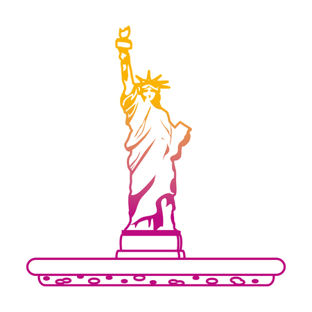 degraded line statue liberty sculpture traditional history Stock Illustratie