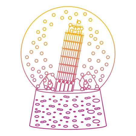 degraded line leaning tower of pisa inside snow glass vector illustration Illustration