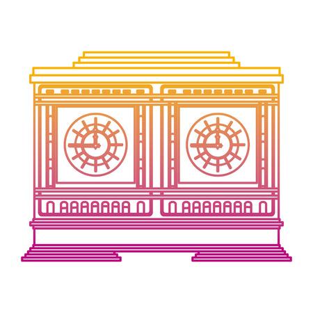 degraded line medieval clock object structure design vector illustration