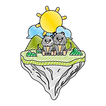 doodle couple mouse animal in float island vector illustration
