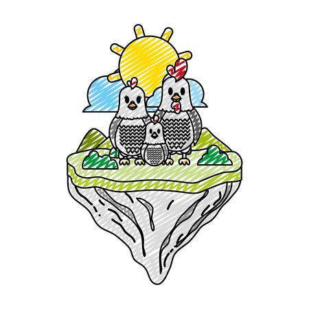 Gekritzelfamilie Hühnertier in der Schwimminselvektorillustration