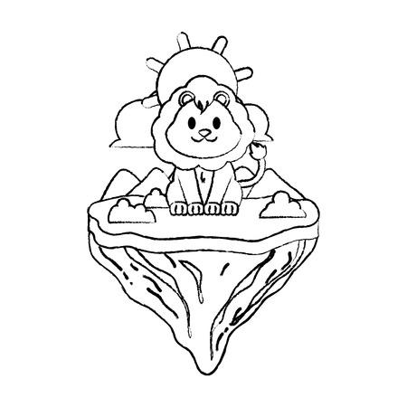 grunge male lion animal in float island vector illustration Illustration