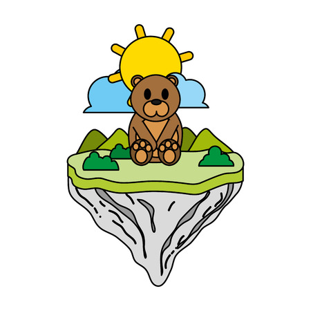 color cute bear animal in float island vector illustration