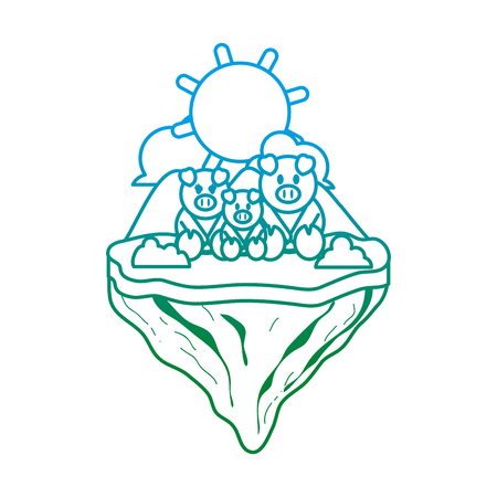 degraded line family pig animal in float animal vector illustration