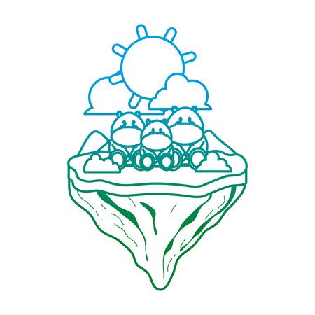 degraded line family hippopotamus animal in float island vector illustration Ilustração