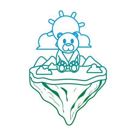 degraded line cute bear animal in float island vector illustration
