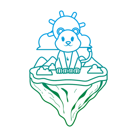 degraded line female lion animal in float island vector illustration Illustration